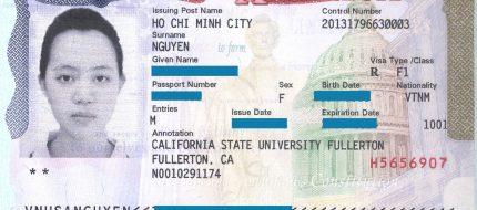 mẫu Visa du học Mỹ F1
