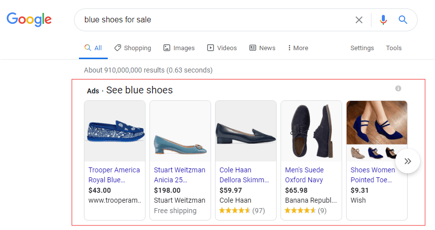 Google Shopping Ad example for blue shoes