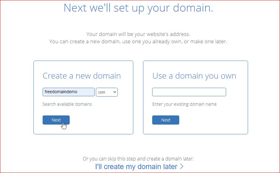 bluehost - create new domain