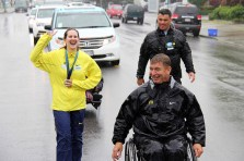 A shot of me laughing and Rick Hansen during the relay.