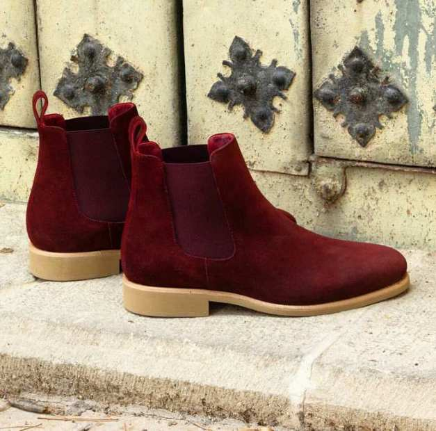 Classic pair of oxblood Calf suede Chelsea boot with natural crepe sole - Wealthy Wearz - EbonyDirectory.com