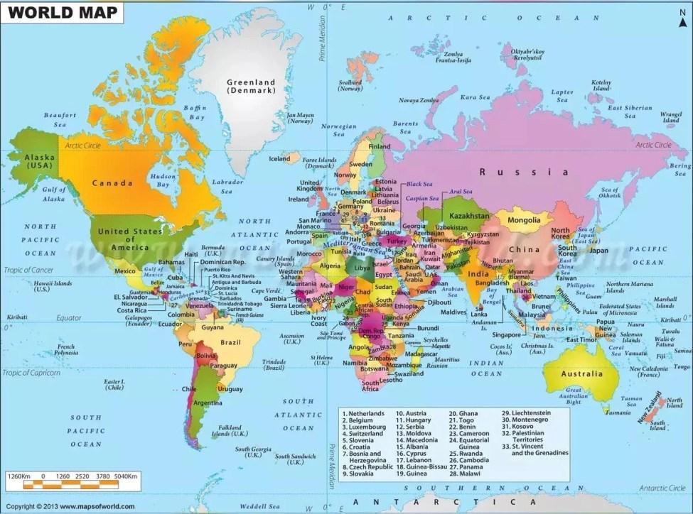 World Map PDF & jpg