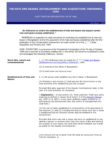 Page 1 The Hats And Bazars Establishment And Acquisition Ordinance 1959