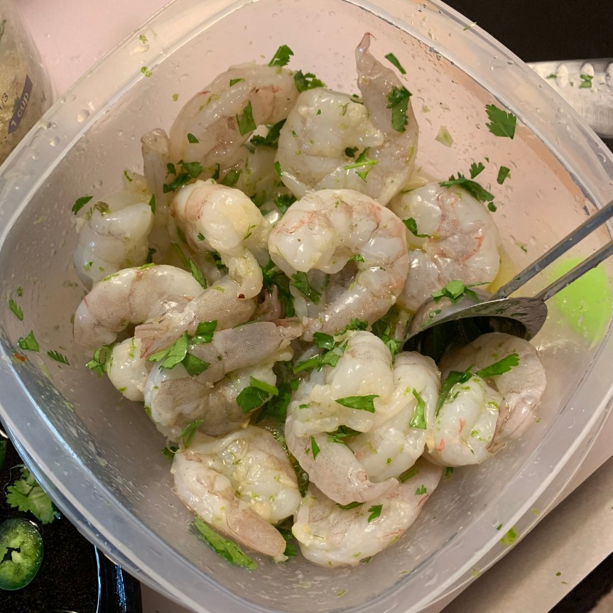 Shrimp in lime and garlic