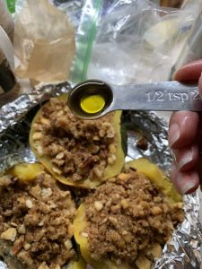drizzle olive oil on stuffed squash