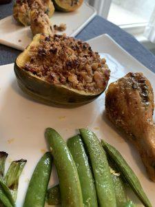 Chicken legs with stuffed acorn squash