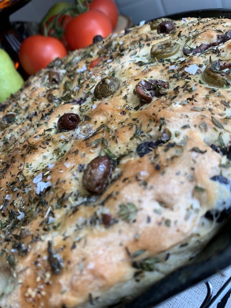 No Knead Olive Skillet Bread
