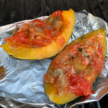 Acorn squash after falling face down