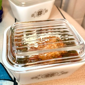 Tony's Grandmothers Spinach & Meatballs in Town & Country Pyrex