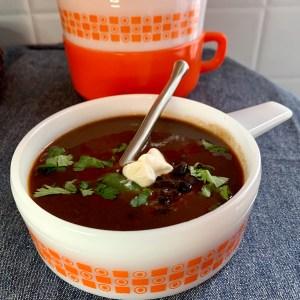 Sopa Tarasca (Black Bean & Tomato Soup with Bacon)