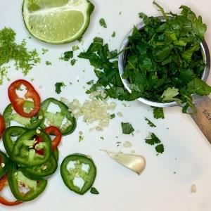 Cilantro lime shrimp ingredients