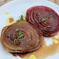 Pear or Raspberry Infused White Balsamic Glazed Onions