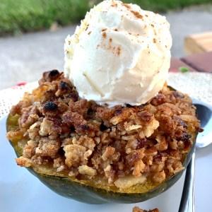 Stuffed acorn squash dessert!