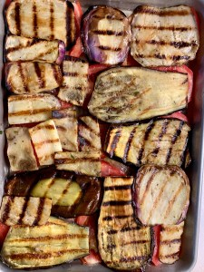 Grilled garden eggplant, tomatoes and zucchini layered for a no noodle lasagna