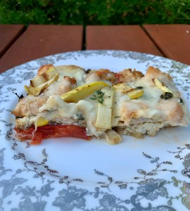 Fresh grilled eggplant, zucchini and tomato noodle-less lasagna