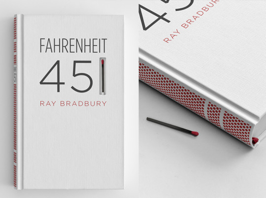 A Farenheit 451 cover with a match in lieu of the '1'