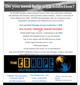 EB HOPE Hosts Drop-In Center Tomorrow Night, Thursday, November 17th