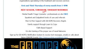 EB HOPE Hosts Drop-In Center Tomorrow Night, Thursday, November 17th