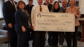 EB HOPE Receives $500 Donation for Drop-In Center from Mansfield Bank