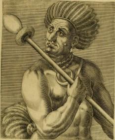 Cunhambebe, chefe tamoio da Guanabara, retratado por um dos acompanhantes do corsário francês Villegaignon