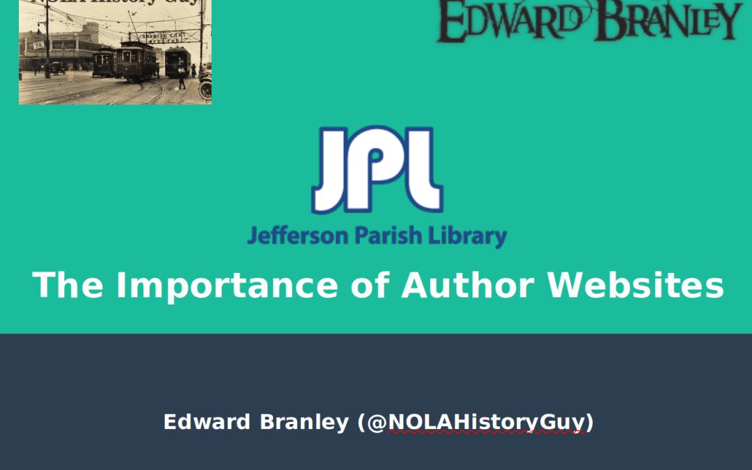 Jeff Parish Library Workshop – Author Websites