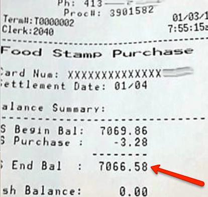 EBT Balance Receipt
