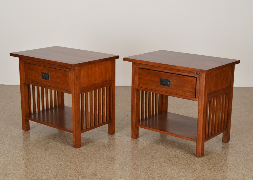 pair of mission style nightstands