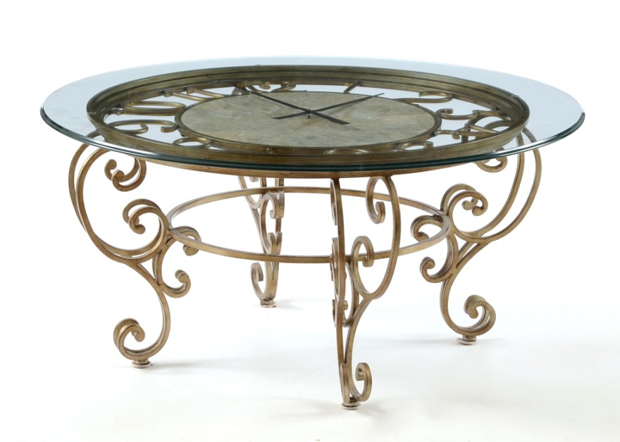 glass top round clock coffee table