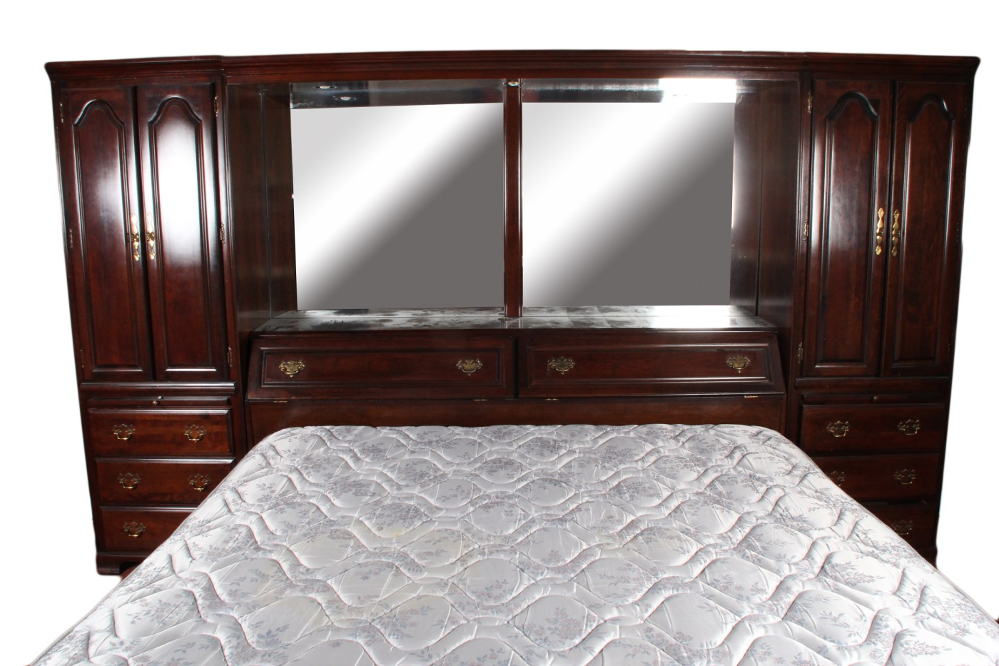 Mirrored Mahogany King Size Cabinet Bed EBTH