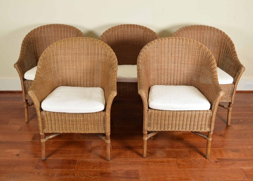 Five Pottery Barn Wicker Barrel Chairs   EBTH Five Pottery Barn Wicker Barrel Chairs