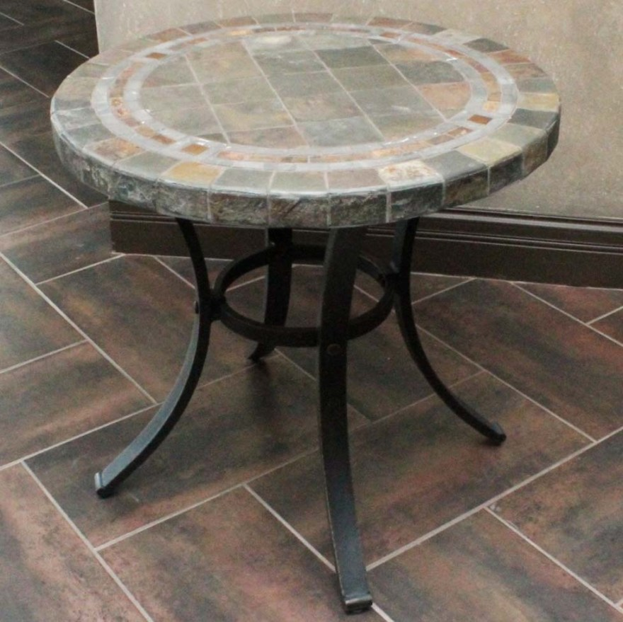 round bistro slate top patio table