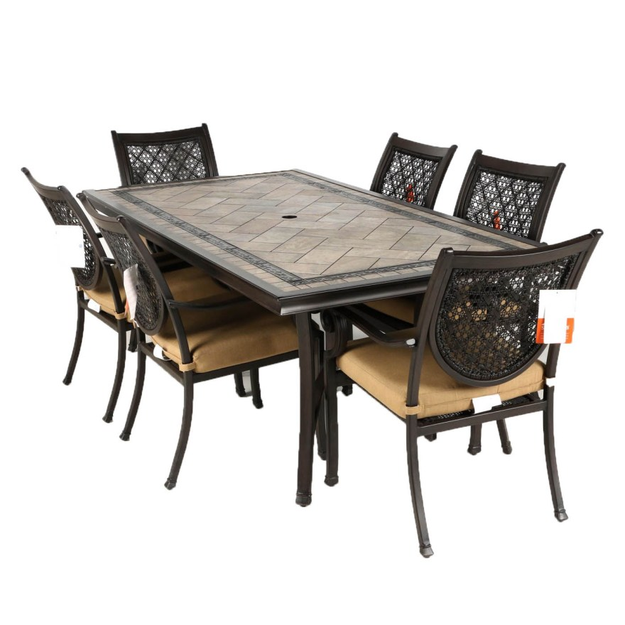 tile top patio table with six chairs