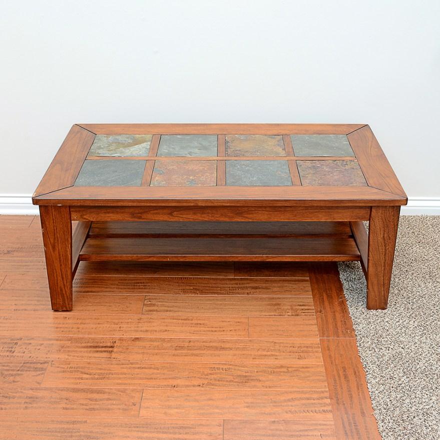 stone tile top pine coffee table