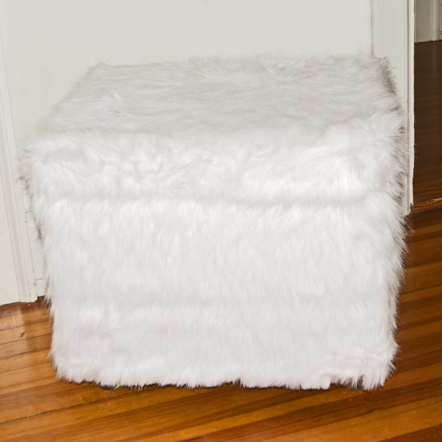White Faux Fur Storage Ottoman EBTH