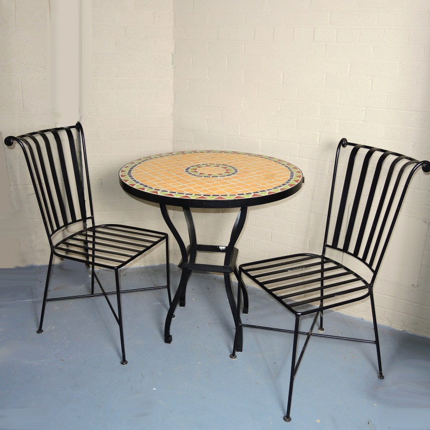 pier one tile top patio table and two chairs