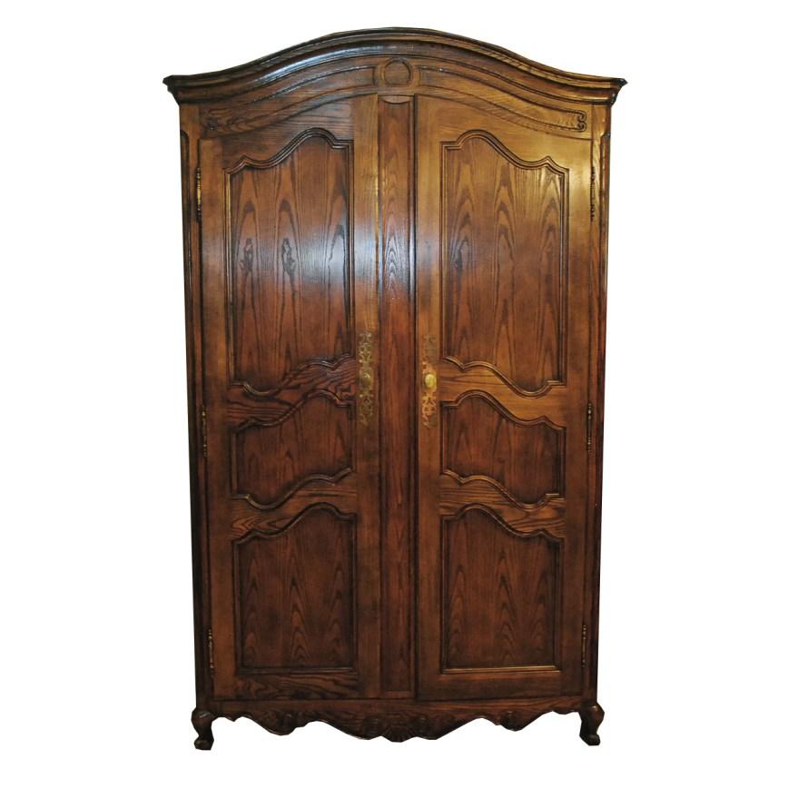 vintage louis xv style oak armoire by baker furniture