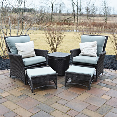 hampton bay patio chairs ottomans and storage table
