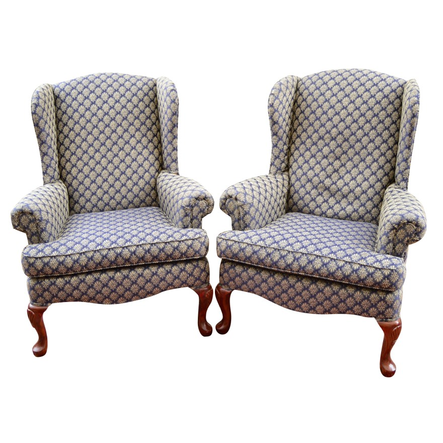 pair of broyhill wing back chairs