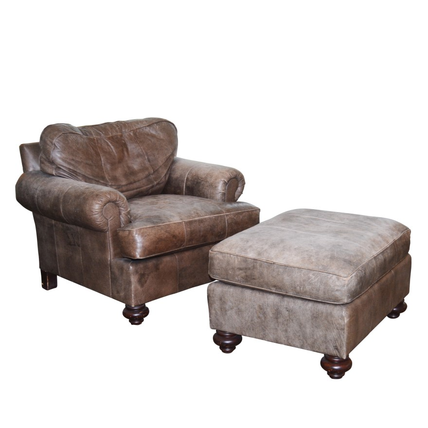 dark mocha distressed leather chair and ottoman by henredon 21st century