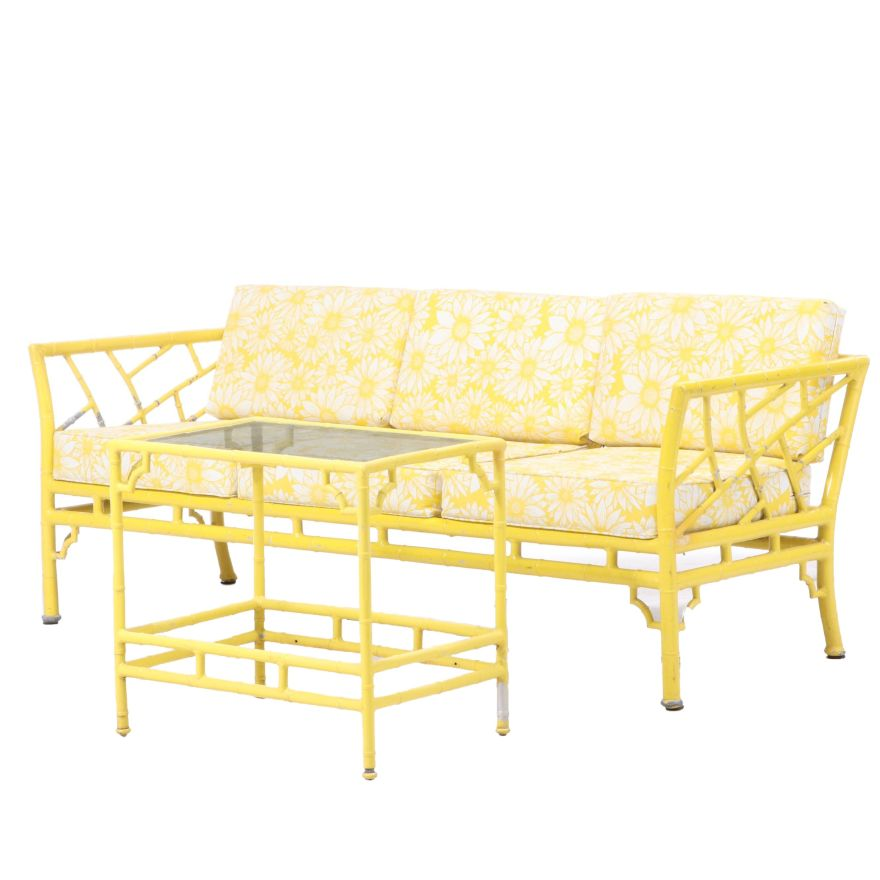 meadowcraft cast aluminum faux bamboo patio sofa and side table
