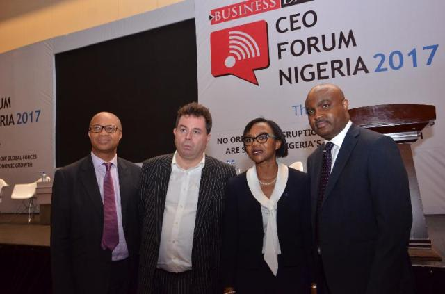 L-R: Director-General, Budget Office of the Federation, Ben Akabueze; Senior Partner of McKinsey Group/Author of No Ordinary Disruption, Mr. Richard Dobbs; Managing Director Avon Healthcare Limited, Adesimbo Ukiri and Managing Director Vodacom Business Nigeria, Lanre Kolade at the recently held Business Day CEO Forum, in Lagos