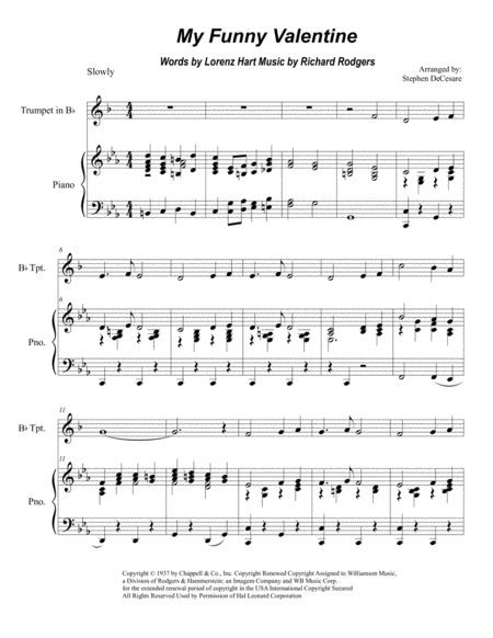 Download My Funny Valentine For Bb Trumpet Solo Sheet
