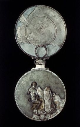 Ancient European Mirror Case With Figure of a Seated Woman