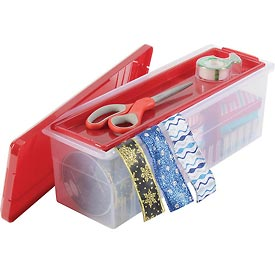 "Ribbon Storage Box w/Divider, Tray, Red Lid/Clear Container, 16"" L x 5-9/16"" W x 5-1/2"" H - Pkg Qty 6"
