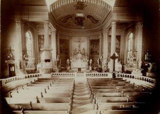 Emil Boehl, Interior, St. Vincent de Paul Catholic Church. 1408 South Tenth Street. Consecrated 1845, Missouri History Museum, N40529