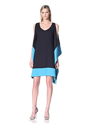 Muse Women's Colorblock Handkerchief Dress (Navy/Turquoise)