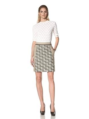 DEREK LAM Women's A-Line Skirt with Linen Panels (Moss)