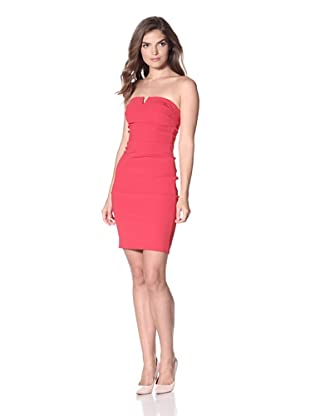 Nicole Miller Women's Fitted Satin Crepe Dress with Notch Front (Cherry)