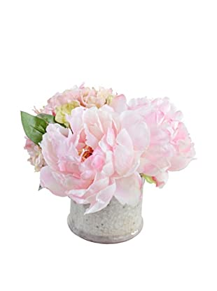 New Growth Designs Hydrangea, & Peony Arrangement in Clay Jar (Pink/Green)