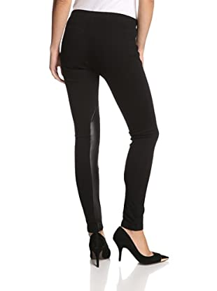 Supply & Demand Women's Riding Legging with Vegan Leather Trim (Black/Black)